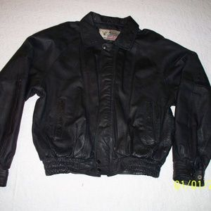 American Leather Black Leather Jacket Mens Med